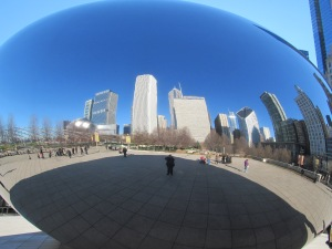 "Me standing in front of the ""Bean"" sculpture in Chicago's Millennium Park"